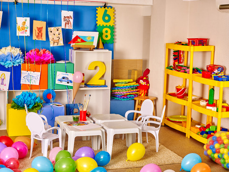 51119781 - interior of kids game room with toys in kindergarten.