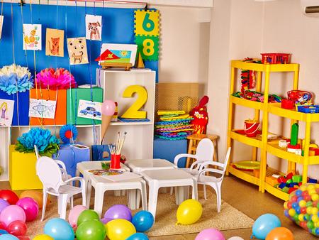 51119781 - interior of kids game room with toys in kindergarten.